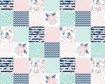 PERSONALIZED Minky Baby Blanket, Baby Girl, Navy/Pink