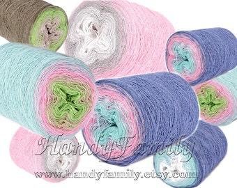 Souffle hypoallergenic summer yarn, BIG cakes handknitting yarn machine knitting yarn crochet summer top tunik gradient colors 280g 900m DSH