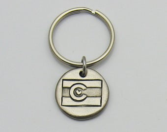 Colorado State Flag Embossed Keychain, Rustic Metal Keychain, Silver Toned Keychain, Colorado Lover, Colorado Flag, Love Colorado Souvenir