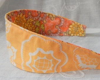 Fabric Reversible Headband, Yellow Floral Print Headband