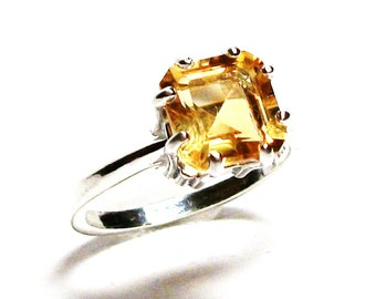 """Citrine, citrine ring, engagement ring, solitaire ring, princess ring, yellow birthstone ring,   s 6 3/4    """"My Girl"""""""