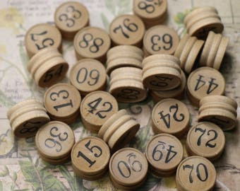 5 Antique Lotto Game Wooden Number Tokens
