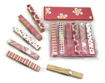 Photo magnets, decorative clothespins, set of 6, fridge magnets, neodymium magnets, picture holders, bag clips, artwork fridge magnets