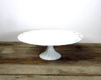 Milk Glass Cake Stand Large Pedestal Cake Stand Open Lace Wedding Cake Stand 1960s Kitchen Decor