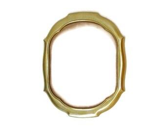 Large Picture Frame, Frame with Glass, Vintage Wall Frame, 13x10 Frame, Metal Art Frame, Gold Oval Octagon
