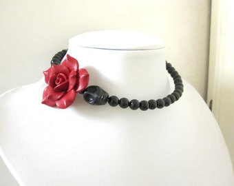 Day of the Dead Necklace Sugar Skull Choker Memory Wire Black Dark Red Rose