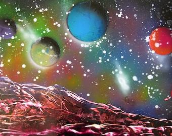 "Spray Paint Art Original Planets Space Landscape Painting Poster 22"" x 14"""