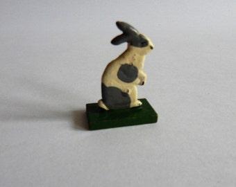 Antique Vintage Erzgebirge Wooden Bunny Rabbit Hand Painted Toy German Christmas Putz