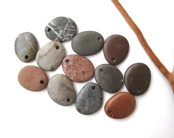 Stone Beads Pebble Beads Mediterranean Natural Beach Stone Beads Top Drilled Rock Pairs Diy Jewelry XOXO LOT 23 mm