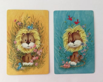 Adorbs Lion Playing Cards,  Set of 10 for Crafting, Yellow or Blue