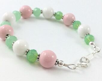 Pink, Green, and White Bracelet / Spring Colors Bracelet