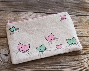 Cat Cosmetic Bag, Zipper Pouch with Cats in Pink and Mint Green, Gift for Cat Lovers, Pastel Accessories