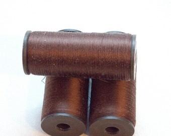 Brown silk thread, natural silk bobbins, soviet vintage silk spool