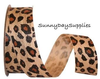 Leopard Animal Print Ribbon, Natural Jute,  Leopard skin print, 2 Yards, 1.5 inch wide, Animals, Kids crafts, Cats, Animal Theme ribbon