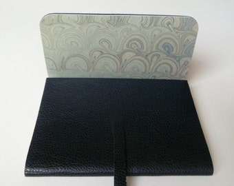 Leather Sketchbook Leather Journal. Dark Blue Beautifully Grained Leather Lined with a Delicate Hand Made Marbled Paper.