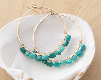 Large Gold Hoop Earrings with Turquoise Nuggets, Hammered 14k Gold Filled Hoops
