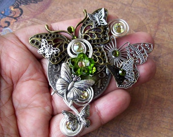 Butterfyl Cluster Brooch (P707) Steampunk Design, Brass and Silver Plated, Olivine Green Swarovski Crystals, Wire Work, Duo Pin Backing
