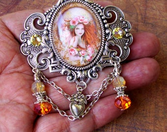 Enchantress Kalia Brooch (P705-2) Pin, Silver Plated Brass, Image Under Glass, Crystal Dangles and Chains