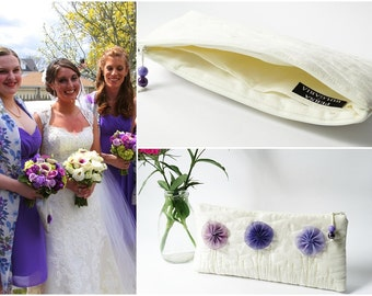 Exquisite Bride Clutch Bag Fairy Bohemian Ivory Handbag Romantic Wedding Accessory with Blue and Purple Flowers