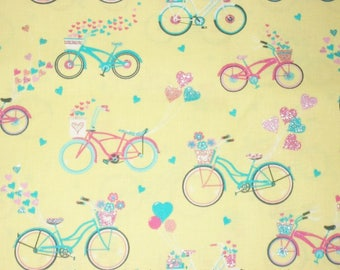 Bicycle Fabric, By The Yard, Fabric Traditions, Quilting Sewing Fabric, Crafting Fabric, Novelty Fabric, Spring Fabric, Glitter Fabric