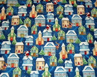 Christmas Fabric, By The Yard, P&B Textiles, Christmas Village, Santa Fabric, Sewing Crafting Fabric, Novelty Fabric, Quilting Fabric
