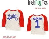 Rookie of the Year Shirt - 3/4 or long sleeve relaxed fit raglan baseball shirt - Any age and name - pick your colors!