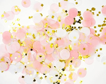 "Tissue Paper Confetti-Pink, White, Gold Mylar Flakes-1"" Circle-Party Confetti/ Wedding Decoration"