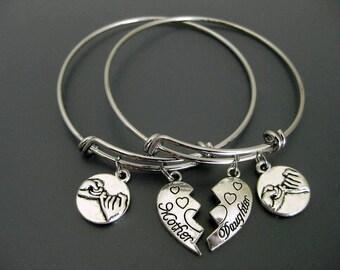 Mother Daughter Bangle / Mother Daughter Bracelet / Set of Two  / Pinky Promise Charm Bracelet / Mother Daughter Jewelry / Charm  Bracelet /