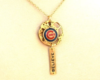 """Chicago Cubs """"Believe"""" Baseball Necklace"""