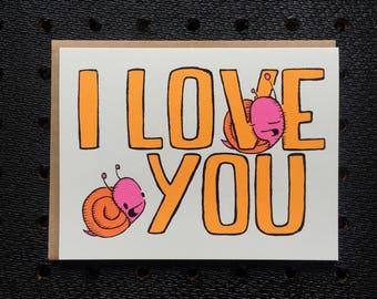 i love you snail card, snail card, love card, i love you card, cute love card