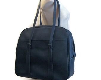 60s Blue Suitcase Blue Carry On Bag Denim Blue Tote Blue Flight Bag 1960s Overnight Bag Blue Travel Bag Blue Vinyl Bag Blue Shoulder Bag