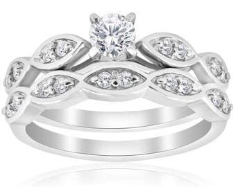 Diamond Engagement Ring Set Vintage Diamond Engagement Wedding Ring Set 3/4 Carat 14k White Gold Matching Wedding Band Solitaire Round Cut
