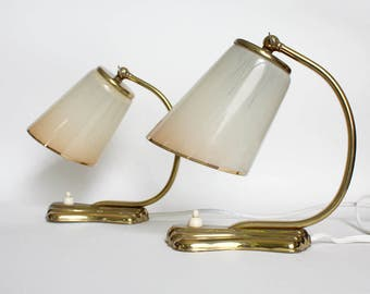Pair of 1950s Art Deco table lamps. Ombre Peach Cream Brass. Bedside Table/ Accent lights.