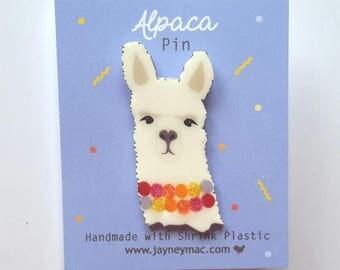 Alpaca Pin, Shrink plastic alpaca pin