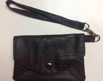 Brown & Black Faux Leather Fabric Wallet / Wristlet / Clutch