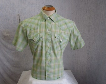 "60s 16"" HBarC Men's Pearl Snap S/S Shirt Mint Green Plaid"