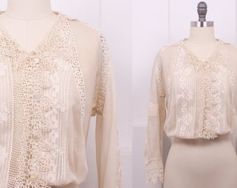 Vintage 1910's Ivory Silk Georgette & Lace Patched Blouse • 10's Sheer Silk Crepe Top • Size S