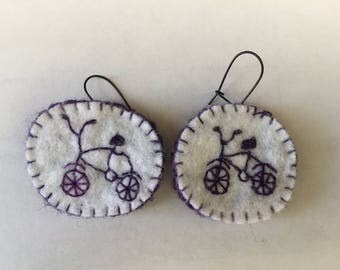 Embroided Bicycle earings