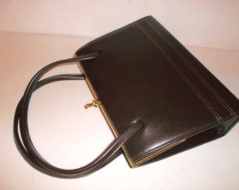 Vintage 1960s Handbag Espresso Brown Leather by MacLaren Elbief Mid Century Mad Men Style Purse
