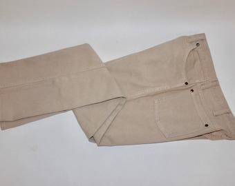 "vintage 1980's -Wrangler- 'Slim Fit' 936 jeans. Tan color - Cotton denim. 34"" x 32"". Made in USA"