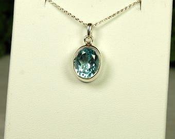 Blue Topaz Pendant, Dazzling Sparkle, Sky Blue Topaz, 5Cts, Sterling Silver, December Birthstone, Large Blue Topaz, Light Blue Gemstone