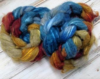 Exploding TARDIS 4oz Yak Silk Spinning Fiber Combed Top Doctor Who Blue Yellow Roving