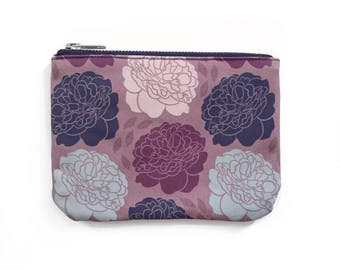 Small Zipper Pouch, Pink Floral Pattern, Damask Romantic Peony Print, Original Fabric Design, Unique Feminine Design, Cute Tampon Bag,