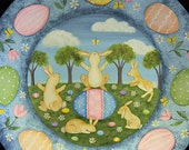 Spring Folk Art Painting Wood Plate, Easter Egg, Bunnies, Country Scene, Primitive Decor, Pastel Colors, Whimsical Rabbits MADE TO ORDER
