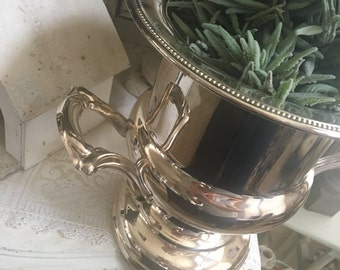 Vintage Large Silver Plated Champagne Bucket Shabby Chic Lovely