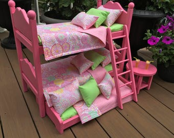 "American Girl Doll:  Furniture, hot pink  bunk beds, with  accessories for 18"" dolls"