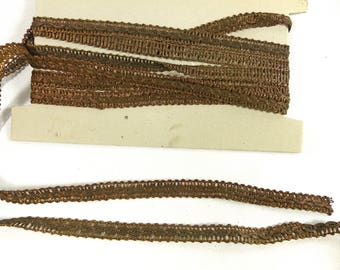 Vintage Trim French Antique Gold Metallic Lovely Condition 9 Yds Unused Rare
