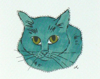 Fabric Note Card, Framable Note Card, Fabric Applique, Textile Note Card, Fabric Collage Card, Cat Applique, Art Note Card