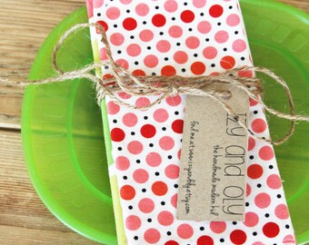 Placemat and Napkin Set for Kids  - Pink Dots Napkin with a Pink and Green Animals Placemat