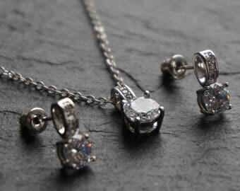 Bridesmaid necklace set, bridemaids gift, silver bridesmaid earrings, silver bridesmaid necklace, silver necklace set, crystal necklace set